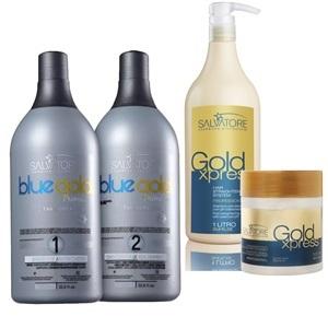 9e8c9f69e Kit Escova Progressiva Salvatore Blue Gold Premium + Kit Pós Alisamento  Gold Xpres Profissional