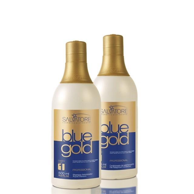 Kit Escova Progressiva Salvatore Blue Gold 500ml 9629dbbbad